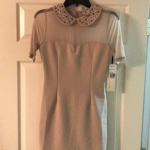 NWT- Forever 21 Dress- taupe color with gems